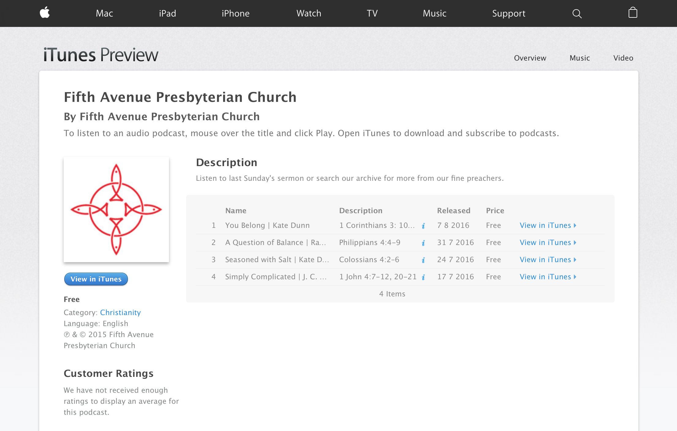 FAPC Sermon Feed to iTunes